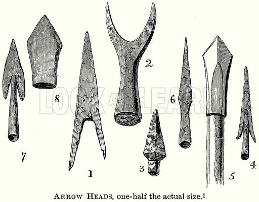 Arrow Heads, One-Half the Actual Size. Illustration from The Comprehensive History of England (Gresham Publishing, 1902).