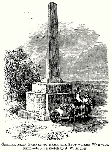 Obelisk near Barnet to Mark the Spot where Warwick Fell. Illustration from The Comprehensive History of England (Gresham Publishing, 1902).