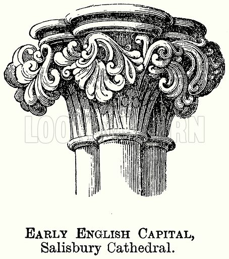 Early English Capital, Salisbury Cathedral. Illustration from The Comprehensive History of England (Gresham Publishing, 1902).