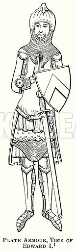 Plate Armour, Time of Edward I. Illustration from The Comprehensive History of England (Gresham Publishing, 1902).