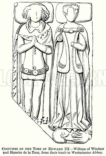 Costumes of the Time of Edward III. – William of Windsor and Blanche de la Tour, from their Tomb in Westminster Abbey. Illustration from The Comprehensive History of England (Gresham Publishing, 1902).