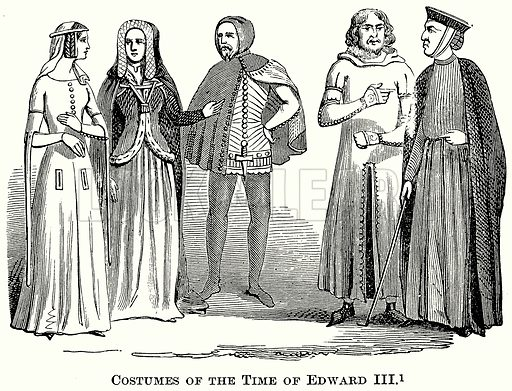 Costumes of the Time of Edward III. Illustration from The Comprehensive History of England (Gresham Publishing, 1902).