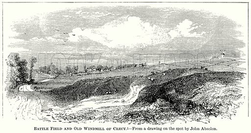 Battle Field and Old Windmill of Crecy. Illustration from The Comprehensive History of England (Gresham Publishing, 1902).