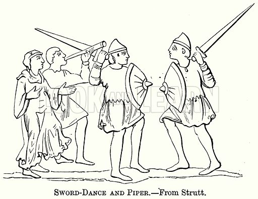 Sword-Dance and Piper. Illustration from The Comprehensive History of England (Gresham Publishing, 1902).