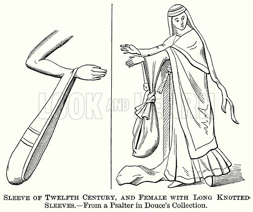 Sleeve of Twelfth Century, and Female with Long Knotted Sleeves. Illustration from The Comprehensive History of England (Gresham Publishing, 1902).