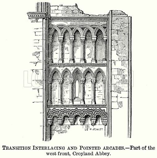 Transition Interlacing and Pointed Arcades. – Part of the West Front, Croyland Abbey. Illustration from The Comprehensive History of England (Gresham Publishing, 1902).