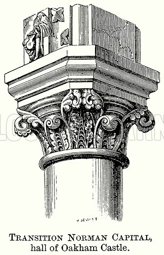 Transition Norman Capital, Hall of Oakham Castle. Illustration from The Comprehensive History of England (Gresham Publishing, 1902).
