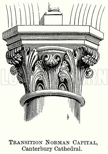 Transition Norman Capital, Canterbury Cathedral. Illustration from The Comprehensive History of England (Gresham Publishing, 1902).