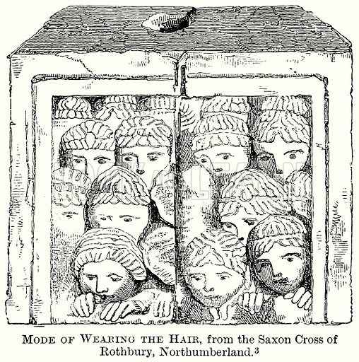 Mode of Wearing the Hair, from the Saxon Cross of Rothbury, Northumberland. Illustration from The Comprehensive History of England (Gresham Publishing, 1902).