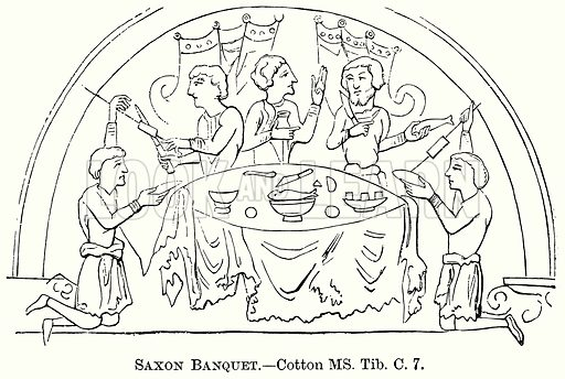 Saxon Banquet. Illustration from The Comprehensive History of England (Gresham Publishing, 1902).