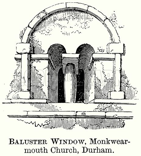 Baluster Window, Monkwearmouth Church, Durham. Illustration from The Comprehensive History of England (Gresham Publishing, 1902).