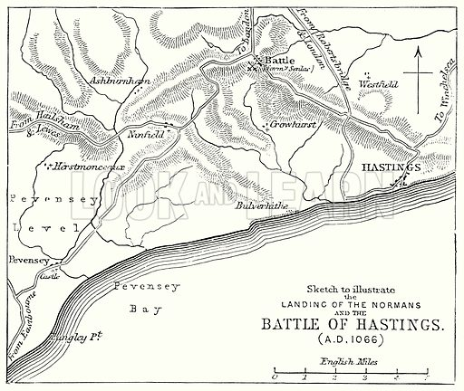 Sketch to Illustrate the Landing of the Normans and the Battle of Hastings. Illustration from The Comprehensive History of England (Gresham Publishing, 1902).