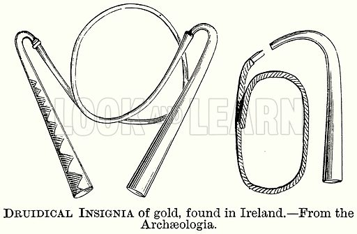 Druidical Insignia of Gold, found in Ireland. Illustration from The Comprehensive History of England (Gresham Publishing, 1902).