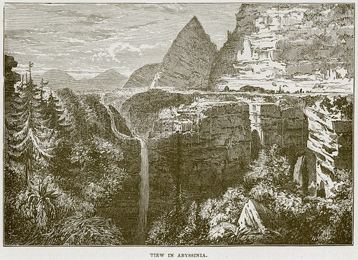 View in Abyssinia. Illustration from Cassell's Natural History (Cassell, 1883).