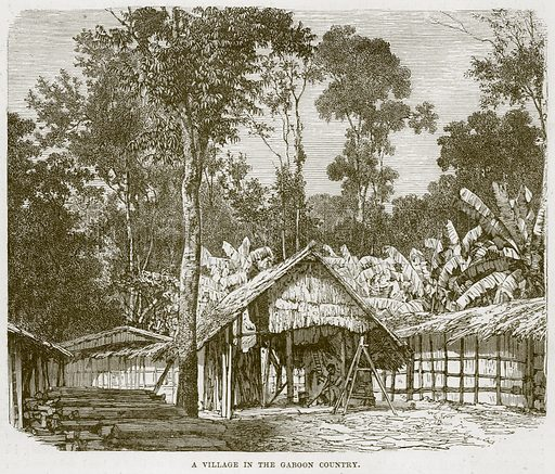 A Village in the Gaboon Country. Illustration from Cassell's Natural History (Cassell, 1883).
