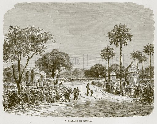 A Village in Nubia. Illustration from Cassell's Natural History (Cassell, 1883).
