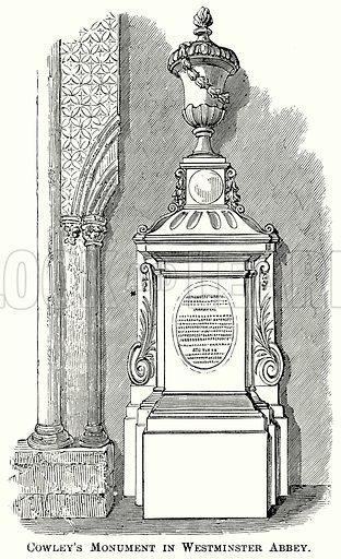 Cowley's Monument in Westminster Abbey. Illustration from The Comprehensive History of England (Gresham Publishing, 1902).