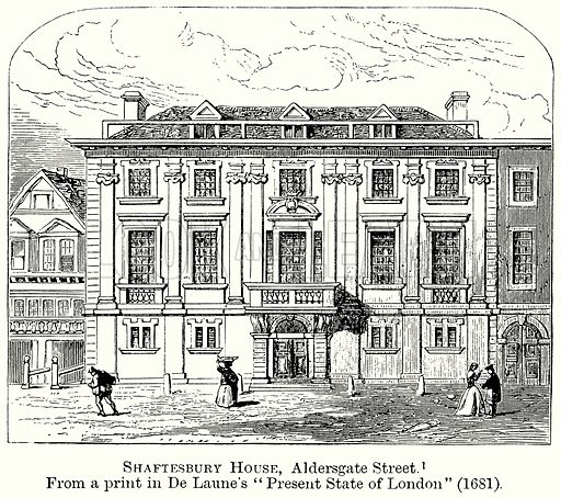 Shaftesbury House, Aldersgate Street. Illustration from The Comprehensive History of England (Gresham Publishing, 1902).