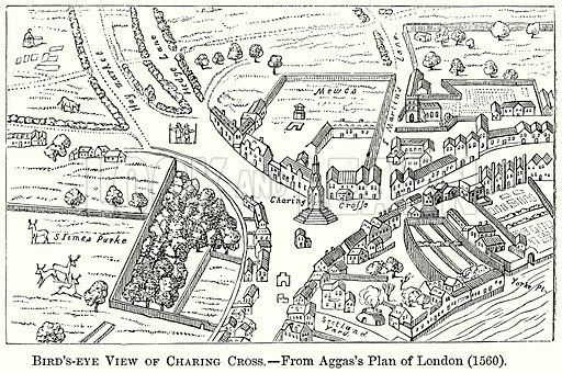 Bird's-Eye View of Charing Cross. Illustration from The Comprehensive History of England (Gresham Publishing, 1902).