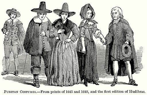 Puritan Costumes. Illustration from The Comprehensive History of England (Gresham Publishing, 1902).