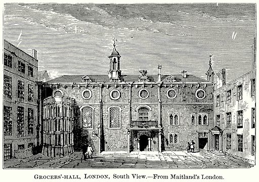 Grocers'-Hall, London, South View. Illustration from The Comprehensive History of England (Gresham Publishing, 1902).