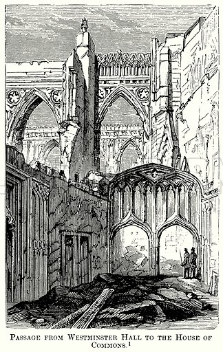 Passage from Westminster Hall to the House of Commons. Illustration from The Comprehensive History of England (Gresham Publishing, 1902).