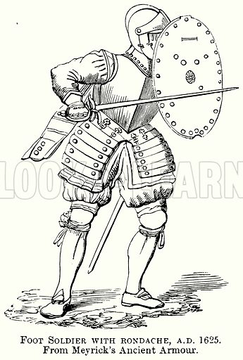 Foot Soldier with Rondache, AD 1625. Illustration from The Comprehensive History of England (Gresham Publishing, 1902).