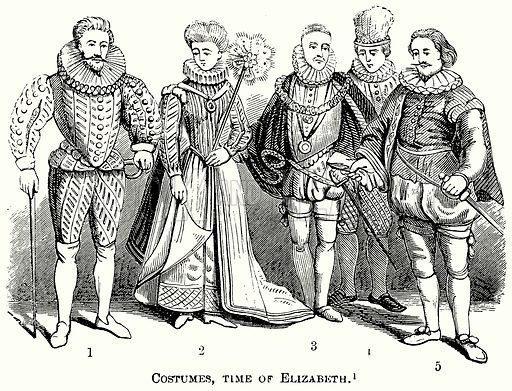 Costumes, Time of Elizabeth. Illustration from The Comprehensive History of England (Gresham Publishing, 1902).