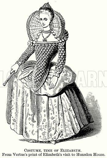 Costume, Time of Elizabeth. Illustration from The Comprehensive History of England (Gresham Publishing, 1902).
