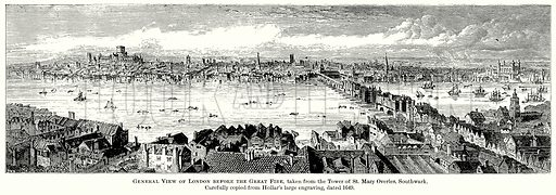 General View of London before the Great Fire, taken from the Tower of St Mary Overies, Southwark. Illustration from The Comprehensive History of England (Gresham Publishing, 1902).