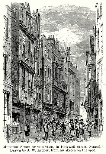 Mercers' Shops of the Time, in Holywell Street, Strand. Illustration from The Comprehensive History of England (Gresham Publishing, 1902).