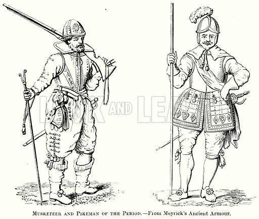 Musketeer and Pikeman of the Period. Illustration from The Comprehensive History of England (Gresham Publishing, 1902).