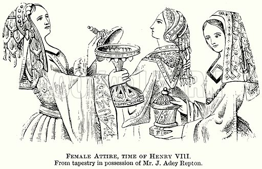 Female Attire, Time of Henry VIII. Illustration from The Comprehensive History of England (Gresham Publishing, 1902).