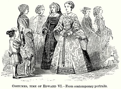 Costumes, Time of Edward VI. Illustration from The Comprehensive History of England (Gresham Publishing, 1902).