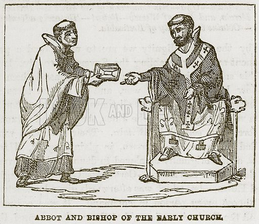 Abbot and Bishop of the Early Church. Illustration from A History of the Anglo-Saxons by Francis Palgrave (Ward Lock, c 1880).