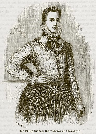 """Sir Philip Sidney, the """"Mirror of Chivalry."""" Illustration from The Boy's Own Volume (Beeton, c 1860)."""