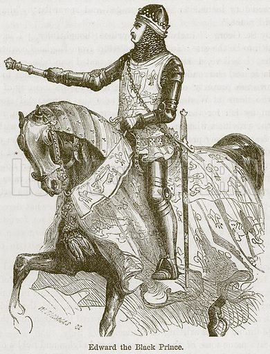 Edward the Black Prince. Illustration from The Boy's Own Volume (Beeton, c 1860).