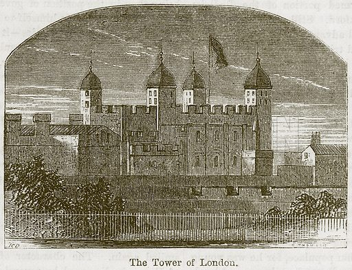 The Tower of London. Illustration from The Boy's Own Volume (Beeton, c 1860).