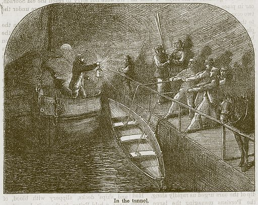 In the Tunnel. Illustration from The Boy's Own Volume (Beeton, c 1860).