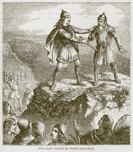 Eric Shows Gudrod the Broken Spear-Head. Illustration from The Boy's Own Volume (Beeton, c 1860).