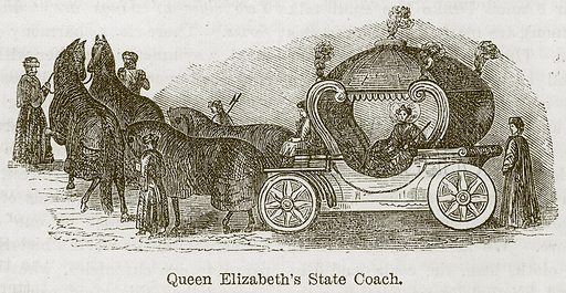Queen Elizabeth's State Coach. Illustration from The Boy's Own Volume (Beeton, c 1860).