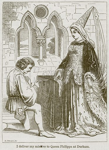 I Deliver my Missive to Queen Philippa at Durham. Illustration from The Boy's Own Volume (Beeton, c 1860).