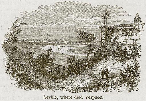 Seville, where Died Vespucci. Illustration from The Boy's Own Volume (Beeton, c 1860).