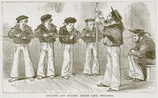 Knotting and Splicing Aboard HMS Britannia. Illustration from The Boy's Own Volume (Beeton, c 1860).