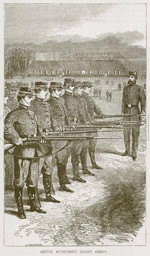 South Middlesex Cadet Corps. Illustration from The Boy's Own Volume (Beeton, c 1860).
