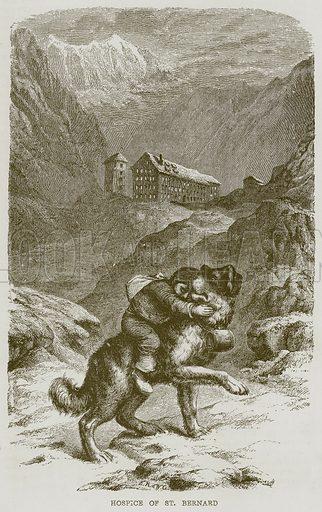 Hospice of St Bernard. Illustration from The Boy's Own Volume (Beeton, c 1860).