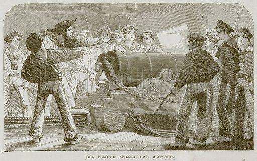Gun Practice Aboard HMS Britannia. Illustration from The Boy's Own Volume (Beeton, c 1860).