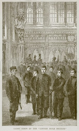 "Cadet Corps of the ""London Rifle Brigade."" Illustration from The Boy's Own Volume (Beeton, c 1860)."