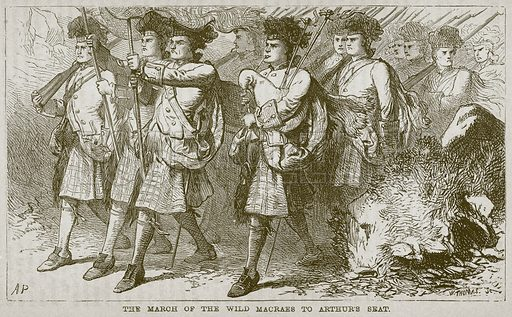 The March of the Wild Macraes to Arthur's Seat. Illustration from The Boy's Own Volume (Beeton, c 1860).