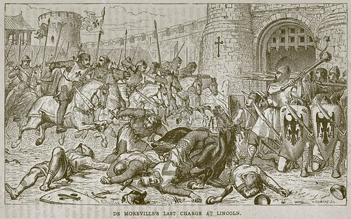 De Moreville's Last Charge at Lincoln. Illustration from The Boy's Own Volume (Beeton, c 1860).
